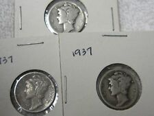 US Coins 1937 Mercury Head Silver Dimes, Coins (3)