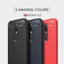 For Nokia 4.2 Luxury Shockproof Carbon Fiber Slim Rubber Phone Case Cover