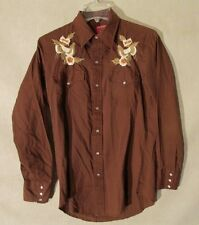 S4055 Chute #1 Brown w/ White Floral Yoke Western Pearlsnap Long Sleeve Shirt