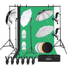 Photo Studio Lighting Photography Non-wovens Backdrop Stand Kit Umbrellas Set