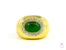 Men's Stunning Natural Green Jadeite Jade Diamond Ring, 18K Yellow Gold. Gia