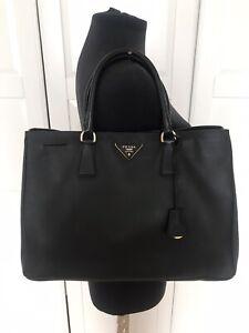 Authentic Prada Saffiano black leather tote handbag