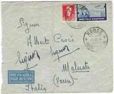 Albania Italian Occupation 1940 airmail cover Korce to Malnate Italy