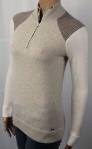 Polo Golf Ralph Lauren 100% Cashmere Cream Oatmeal Brown Half Sweater NWT $398
