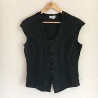 Soft Surroundings Womens Size Medium Taos Top in Black Crochet Peruvian Cotton