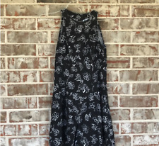 Used Black Sleeveless Floral Dress free shiping