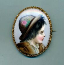 ANTIQUE HAND PAINTED  BOY PORTRAIT PICTURE ON PORCELAIN BROOCH PIN 2.5""