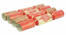 10 Deluxe Red & Gold Christmas Crackers - Christmas Tree Decorations (X-02)