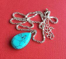 Dyed Howlite Tear Drop Gemstone Pendant Necklace Women's Teen - Aussie Seller!
