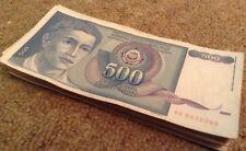FASCIO di Half. 50 x 500 Dinara. JUGOSLAVIA banconote circolato.