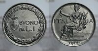 BUONO 1 LIRA 1922 ITALIA SEDUTA VITT. EMANUELE III REGNO D'ITALIA