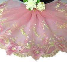 Monthly Rose Embroidered Lace Trim Fabric Tulle Clothes Sewing Craft Wide 20cm