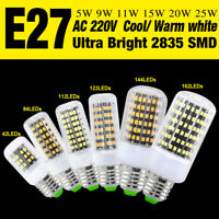 E27/GU10/E14/G9/B22 2835 LED Corn Bulb Bright Office Lamp Cool/Warm White 5-25W