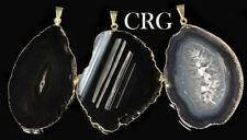 "Gold Plated Black Agate Slice Pendant 1.5""-2.5"" Long (AP24BT)"