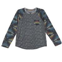 Brooklyn Cloth Aztec Pocket Henley Shirt Mens Size L Large Gray Long Sleeve