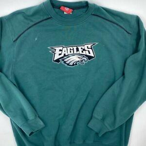 Philadelphia Eagles NFL Mens Sweatshirt Green Crew Neck Long Sleeve Pullover L
