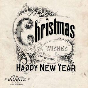 WATER DECAL: Merry Christmas Wishings Santa (Furniture Print Transfer) #037