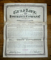 1935 Life insurance policy, Gulf Life Insurance Co. Jacksonville Fla.