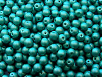 40pcs Top Hole Round Beads 6mm Color Trends Satin Metallic Teal