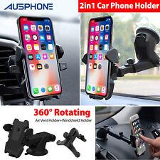 Universal Car Phone Holder 2-in-1 Car Air Vent Windshield Dash Smartphone Mount
