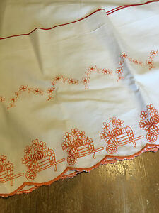 French Vintage Lge Embroidered Shelf Runner with Vegetable Cart and Flowers
