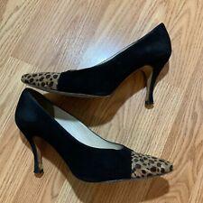Martinez Valero Black Suede Pumps with Leopard Trim, Size 8