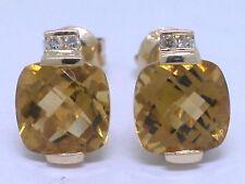 Citrin Ohrstecker 585 Gelbgold 14Kt Gold natürliche Citrine  Brillanten