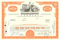 "Howard Johnson Company > ""HoJo"" Johnson's hotels restaurant stock certificate"