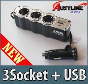 3 Socket 12v Car Cigarette Lighter + USB Power Charger