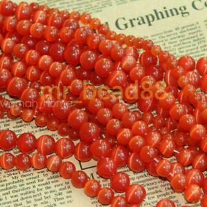 50pcs Round Cat Eye Opal Loose Beads 6/8/10/12mm Gemstone DIY Necklace Jewelry