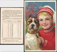 Antique Boston Terrier dog Metropolitan Life Insurance NY MetLife old Trade Card