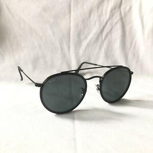 Ray-Ban Round Double Bridge 3647N 002/R5 Sunglasses Black Lenses Black Frames