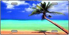 Sunrise Ocean Tropical Beach Palm Tree  Metal License Plate Tag Sign Sea Shore