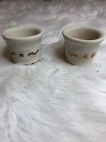 Longaberger Pottery Set Of 2 Candy Corn Americana Candle Holders