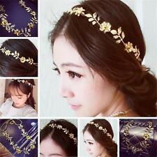 Lady's Fashion Metal Chain Jewelry Elastic Leaves Flower Hair Band Headband xH