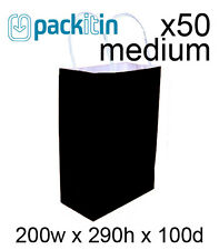 x50 BLACK paper gift CARRY tote party BAGS with handles - MEDIUM (200 x 290mm)