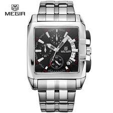 MEGIR 2018 Brand Military Sports Chronograph Watch with Steel Belt For Men