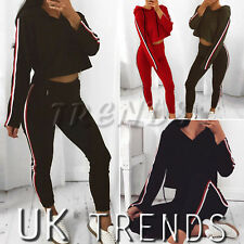 UK Women 2 PCS Hooded Crop Top Striped Loungewear Set Tracksuits Ladies Trousers