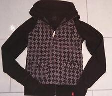 EDC Weste Gr. S 36 schwarz karriert raffiniert mit Taschen Jacke Sweatjacke