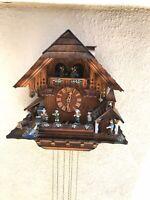 Black Forest Nice Fisher Man  Musician Dancer 8 Days German Swiss Cuckoo Clock