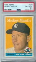 1958 TOPPS MICKEY MANTLE # 150 BASEBALL CARD  PSA 6.5 GORGEOUS AND UNDERGRADED!