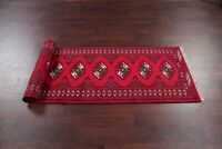 Geometric Bokhara Oriental Runner Rug Wool Hand-Knotted Staircases Carpet 3'x9'