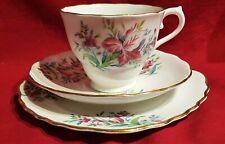 COLCLOUGH PINK IRIS PATTERN GILD BONE CHINA TEA CUP, SAUCER, PLATE TRIO 1940s