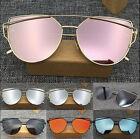 Womens Oversized Cat Eye Fashion HOT Flat Lens  Mirror Metal Frame Sunglasses