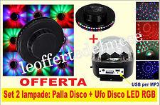 Coppia luci discoteca con Ufo disco e Globo disco RGB con telecomando e USB MP3