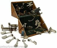 "Antique SINGER SEWING MACHINE PARTS Lot of 15 in ""PAT 1889"" WOOD PUZZLE BOX Rare"