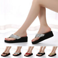 Summer Women's Casual Soft Sequin+EVA Sole Slip on Flip Flops Beach Slippers New