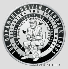2019 .999  Silver Shield TRUMP TWITTER PROOF  with Coa