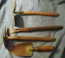 4 vintage Garden tools 2 hoes, spade, wood handle