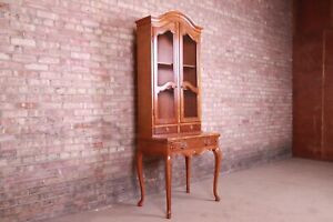 Baker Furniture French Provincial Cherry Wood Secretary Desk With Bookcase Hutch